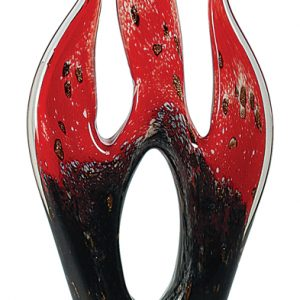 "16"" Red & Black Flame Art Glass"