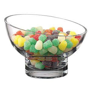 Kira Lead Free Mouth Blown Slant Cut Candy Bowl D6 in.