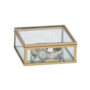"4"" Glass Box W/ Gold trim"