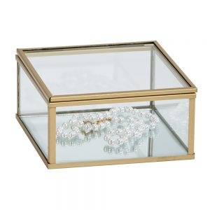 4.75  Glass box W/ Gold Trim