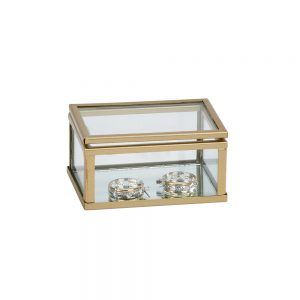 "3"" Glass Box W/ Gold trim"