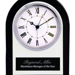 "6 1/4"" Black/Clear Glass Arch Clock"