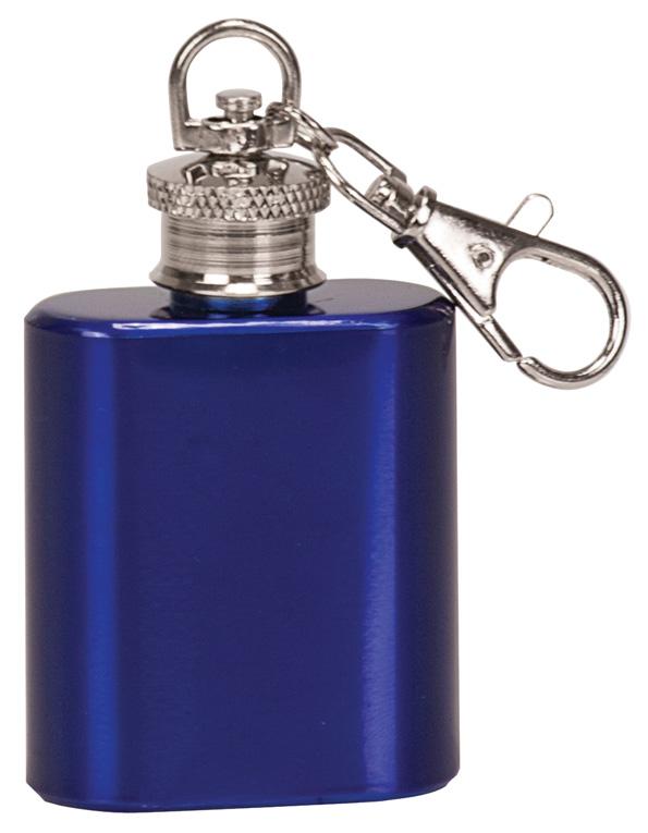 1 oz. Gloss Blue Flask Keychain