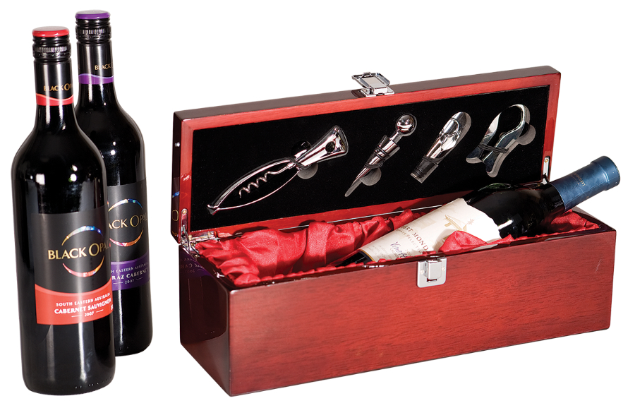 Rosewood Piano Finish Single Wine Box with SS Tools