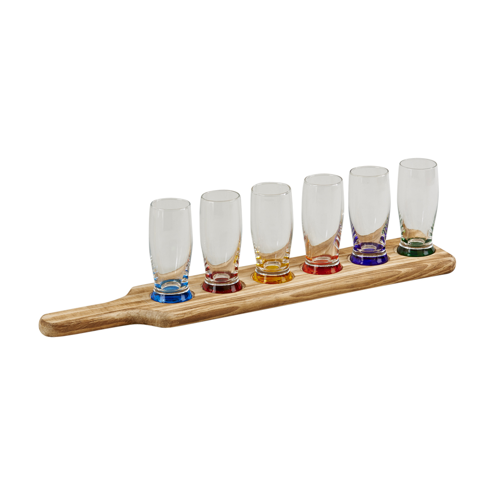 7 Piece Travern tasting flight w/ 6 glass w/color base and wood paddle rack