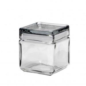 1 Qt Square Jar w/ Glass Lids