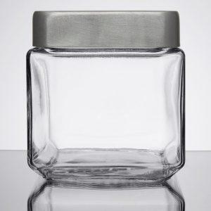 1 Quart Square Glass Jar with Metal Lid