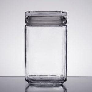 1.5 Qt Square Jar w/glass lid