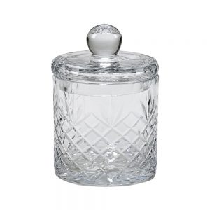 "5"" OPTIC CRYSTAL BISCUIT BARREL WITH MEDALLION ll PATTERN"
