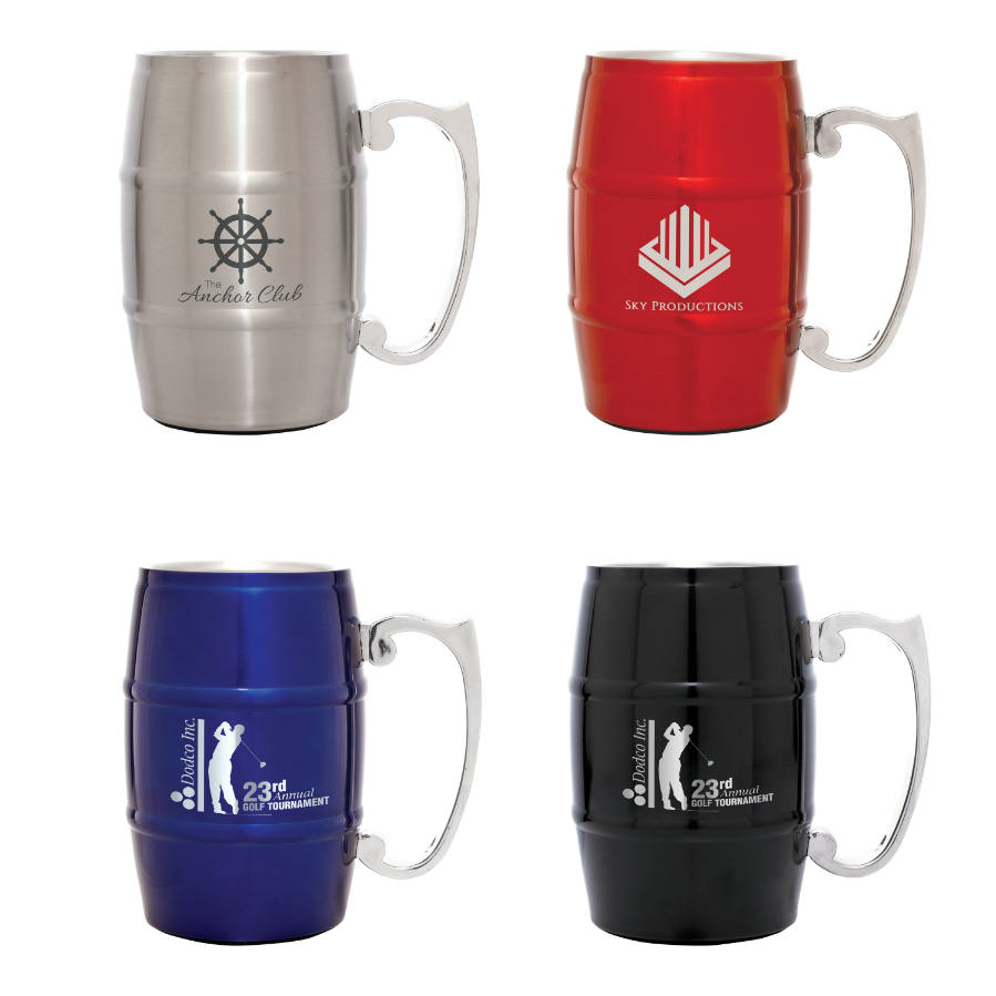 17 oz. Stainless Steel Barrel Mug with Handle