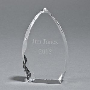 """OPTIC CRYSTAL TROPHY POINT, 6"""" HT"""