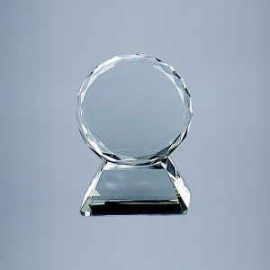 "OPTIC CRYSTAL TROPHY ON BASE, 5"" HT"