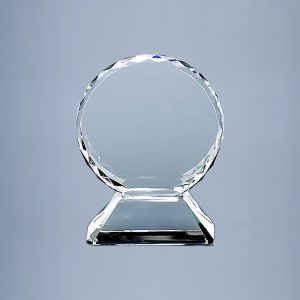 "5.75"" HT OPTIC CRYSTAL TROPHY ON BASE"