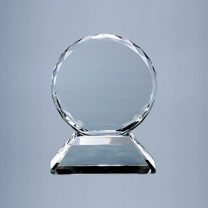 "6.75"" HT OPTIC CRYSTAL TROPHY ON BASE,"