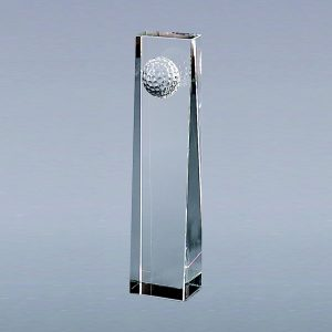 "7.75"" OPTIC CRYTAL GOLF BALL OBELISK,"