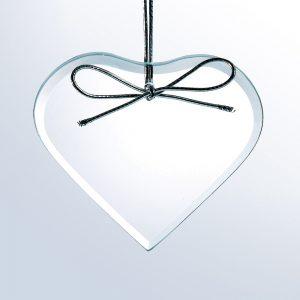 3-3/4 Beveled Heart Orn.