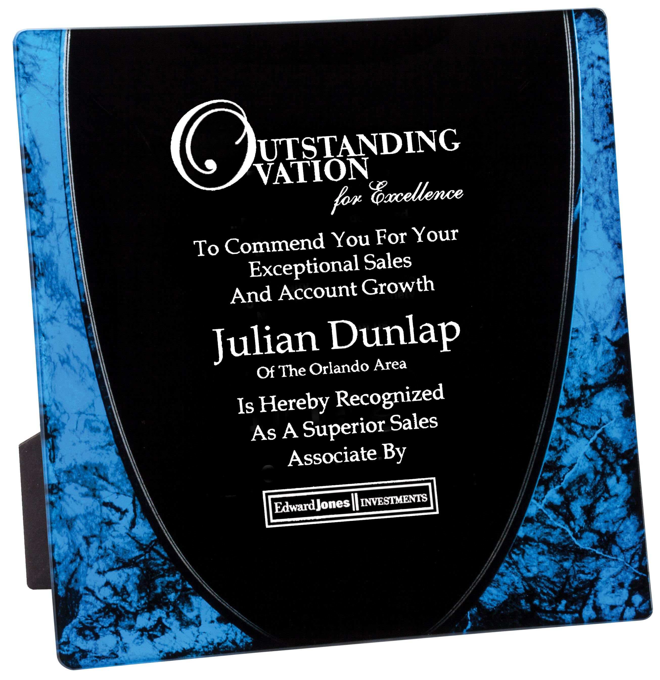10x10 Blue Award Plate