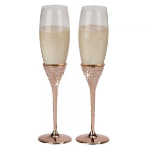"""Galaxy"" Rose Gold Flutes, Pair 10.5"" H"